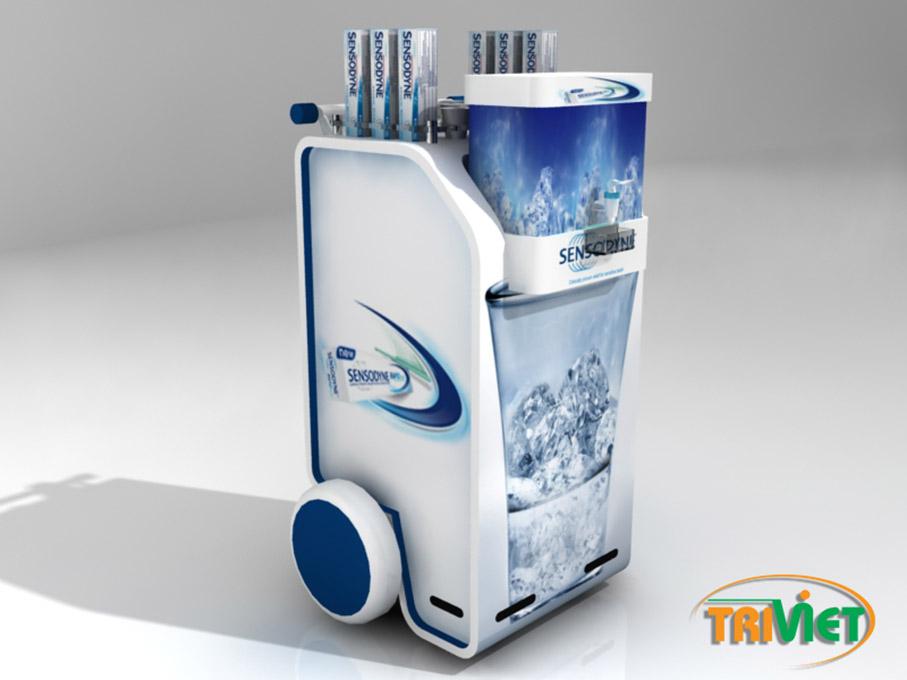 thiết kế Sản xuất Quầy kệ Sampling tphcm